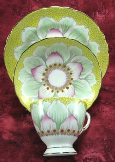 Vintage Tuscan Art Deco Flower Teacup Trio Hand Colored Enamel Accents
