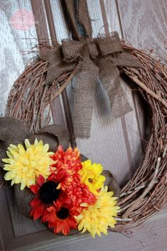 Amazing Fall Wreath - burlap and flowers