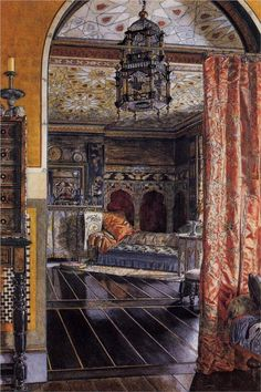 Sir Lawrence Alma-Tadema, Illustration of the drawing room at Townshend House 1885 Lawrence Alma Tadema, Architecture Antique, Royal Academy Of Arts, Decoration Inspiration, Writing Inspiration, Interior Inspiration, Dutch Painters, Bohemian Interior, Interior Paint