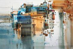 excellent refuse : Photo Watercolor Artists, Watercolor Landscape, Abstract Watercolor, Watercolor Paintings, Watercolours, Anime Comics, Gouache, Abstract City, Landscape Plans
