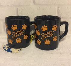 2 Vtg Chester Cheetah Cheetos Ceramic Coffee Mug Cup Black Orange Paw Prints  #FritoLay