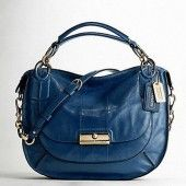 Coach bags KRISTIN ELEVATED LEATHER SAGE ROUND SATCHEL BLUE