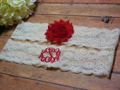Monogrammed Garter Monogram Wedding Monogram by BloomsandBlessings