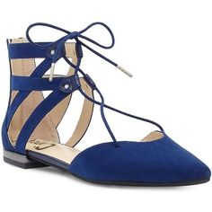 Circus By Sam Edelman Haven Microsuede Lace-Up Flats ($60) ❤ liked on Polyvore featuring shoes, flats, bandana blue, pointy toe shoes, rubber sole shoes, blue pointed toe flats, laced flats and lace up shoes