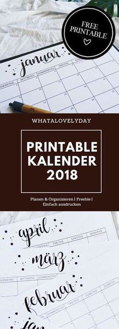 Terrific Free of Charge printed calendar printables Ideas The modern year can be just around the corner though it does not take suitable period setting innovative answe. Free Printable Calender, Printable Planner, Free Printables, Diy 2018, Kalender Design, Bullet Journel, Print Calendar, Monthly Calendar 2018, Journaling