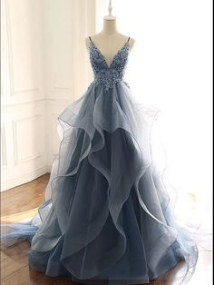 Blue Gray Tulle V Neck Long Ruffles Prom Dress, Lace Evening Dress from Sweethea. - Blue Gray Tulle V Neck Long Ruffles Prom Dress, Lace Evening Dress from Sweetheart Dress- Source by annikaephotos - Pretty Prom Dresses, Sweet 16 Dresses, Lace Evening Dresses, Sweet Dress, Elegant Dresses, Homecoming Dresses, Lace Dress, Tulle Lace, Sexy Dresses