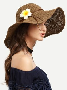 Coffee Flower Decorated Large Brimmed Straw Hat