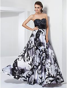 A-line Sweetheart Strapless Floor-length Stretch Satin Evening Dress - USD $ 249.99