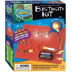 Electricity Kit Mini Lab - The young electrician can learn all about circuits! Learn series, parallel, and short circuits, switches, voltage, current, resistance and more! Experiment with conduction! Instruction booklet included to help guide you through your experiments.