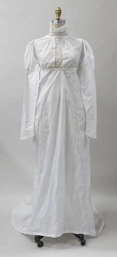 Dress Date: ca. 1807 Culture: British Medium: cotton Dimensions: Length at CB: 86 in. (218.4 cm) Credit Line: Purchase, Gould Family Foundation Gift, in memory of Jo Copeland, 2012