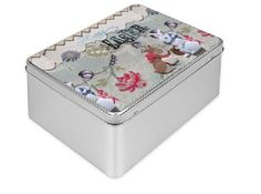 Easter Tin Gift Box in light blue white and fuscia pink with  bunny couple