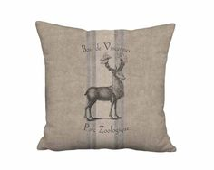 Bois de Vicennes French Country Grain Sack Linen Burlap Deer Pillow - 10x 12x 14x 16x 18x18 20x20 22x 24x 26x 28x Inch Neutral Brown Pillow by artanlei on Etsy