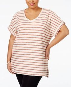 Style & Co Plus Size Dolman-Sleeve Striped Top, Only at Macy's - Orange 3X