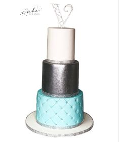 Simple tiffany blue and silver birthday cake. Call or email to order your celebration cake today. Tiffany And Co, Tiffany Blue, Silver Glitter, Blue And Silver, Cakes Today, Easy Cake Decorating, Fondant Cakes, Celebration Cakes, Cake Designs