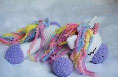 Patrón del ganchillo del pony del unicornio el dormir