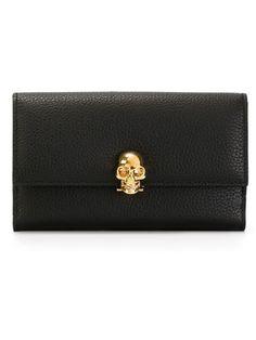 ALEXANDER MCQUEEN Skull Wallet. #alexandermcqueen #wallet Alexander Mcqueen Wallet, One Coin, Crystal Skull, Continental Wallet, Swarovski Crystals, Black Leather, Pouch, French, Gold