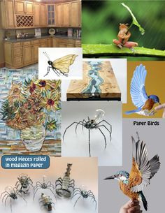 paper birds and other art work & another cute frog pic