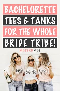 Mix and match with your bride squad by wearing any of these 50 super cute and coordinated bachelorette party shirts and tanks. #bachelorettepartyshirts #funnybachelorettepartyshirts #uniquebachelorettepartyshirts #ModernMaidofHonor #ModernMOH Getting Drunk, Getting Married, Bachelorette Party Shirts, Girls Weekend, Girl Gang, Maid Of Honor, Tanks, Squad, Bride