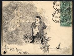 ¤ fine hand illustrated pen & ink depicting Napoleon, franked pair ½d Edwards, tied Bramley Yorks duplexes, 1903