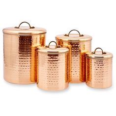 Old Dutch International, Ltd. 4-Piece Copper Hammered Canister Set (2.145 CZK) ❤ liked on Polyvore featuring home, kitchen & dining, food storage containers, copper, old dutch canister set, flour cannister, storage canister sets, flour sugar canister set and copper canister set