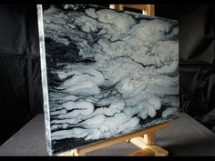 ▶ Acrylmalerei Demo, Fluid Acrylic Painting, Black, White, Clouds, Abstract Art…