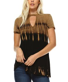 2088ae2b Take a look at this Urban X Mocha & Black Tye-Dye Accent Keyhole Top today!