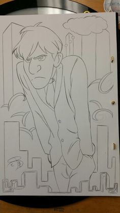 #RCBrock Here! So what do you look like in the morning? Myself im like George here from Disney's animated short Paper Man. Just peeved off to no longer be in my comfy bed.  Put this drawing together at work this morning. #Disney #Paperman