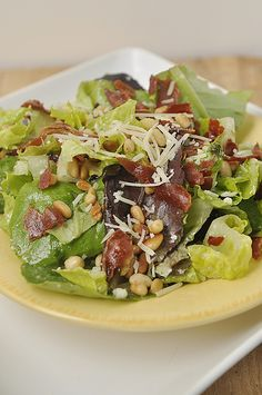Prosciutto, Pine Nut, and Spring Greens Salad