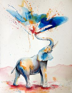 watercolor elephant for a tattoo; the spray could lead into the watercolor tiger. Image Elephant, Elephant Art, Elephant Tattoos, Indian Elephant, Happy Elephant, Elephant Pattern, Water Color Elephant, Elephant Paintings, Colorful Elephant