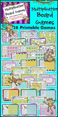 Printable Multiplication Games for Fact Fluency: Multiplication Facts Practice Math Board Games, Math Games, Math Activities, Fun Games, Math Tutor, Teaching Math, Maths, Teaching Ideas, Math Stations