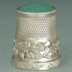Antique English Stone Top Thistle Sterling Silver Thimble * Hallmarked 1913