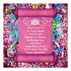 Her Royal Highness Princess Birthday Party Announcements Hippie Theme