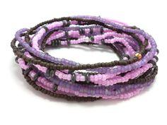 Seed bead wrap stretch bracelets stacking beaded boho by JewelRiot