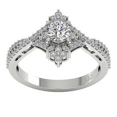 4e9cd87310b SI1 G Real 0.90Ct Round Diamond 14KT Gold Fancy Solitaire Anniversary Ring  Band