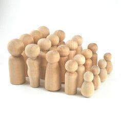 20 Wood Peg Dolls Set - perfect for Waldorf peg dolls!!