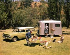 1962 Holden EJ station Wagon with caravan