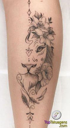 70 female and male lion tattoos TopTattoos, # … Piercing - tattoo feminina Girly Tattoos, Leg Tattoos Small, Back Of Leg Tattoos, Leg Tattoos Women, Top Tattoos, Tattoos For Women Small, Unique Tattoos, Beautiful Tattoos, Body Art Tattoos