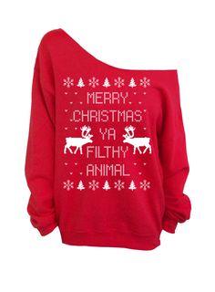 3/4 sleeve ugly christmas sweater t shirt merry xmas ya filthy ...