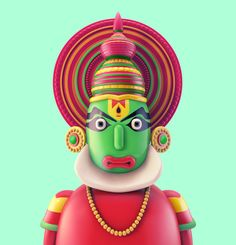 Kerala + Art Kerart - South Indian toy character series.Personal Project inspired from some of the famous folk artform characters from Southern India.Cant wait to get these animated.
