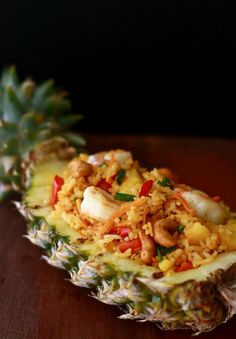 malaysian pineapple fried rice recipe - This stuff is yummy. Go easy on the curry though. It gets hotter the longer it sits.