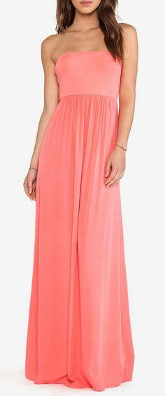 Splendid Strapless Maxi Dress in Coral Pink