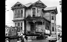 1978 One of the two historic Victorian-era building, which shipped seven blocks away, in Los Angeles. Victorian Buildings, Unique Buildings, Old Buildings, Beautiful Buildings, Victorian Homes, Victorian Era, Abandoned Houses, Old Houses, Los Angeles Neighborhoods