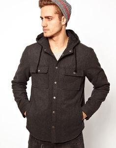 Buy ASOS Wool Hooded Over Shirt at ASOS. Get the latest trends with ASOS now. Asos Men, Hommes Sexy, T 4, Hoods, Raincoat, Shirt Dress, Parfait, Mens Tops, Swag