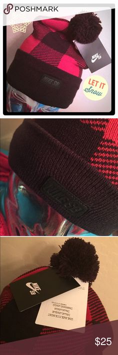 ☃Nike SB Buffalo Plaid Pom Pom Beanie☃ Authentic Nike SB Red and Black Buffalo Plaid Pom Pom Beanie. Adult Unisex. OSFM. Black Cuff & Pom Pom. Black Nike SB Faux Leather Tab on the Front. Thick Black Knit Lining so great for Cold Weather. 100% Acrylic. Brand New. Excellent Condition. No Trades. Nike Accessories Hats