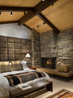 Wonderful Residence Architecture With Natural Materials : Rustic Bedroom Design Stone Fireplace Rocky Mountain Retreat