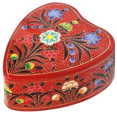 "Blooming Tales – Handmade Heart-Shaped 5.2"" Papier Mache Jewelry Box/ Trinket Box/ Keepsake with Bright Flowers on Red - Buy in Bulk Wholesale"