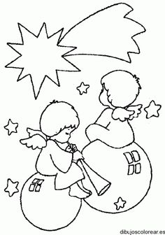 Dibujo de ángeles navideños | Dibujos para Colorear