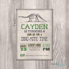 Dinosaur Birthday Invitation Rustic Dinosaur von StyleswithCharm, $12.00