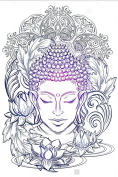 If you're planning to get a Buddha tattoo design, you've come to the best place. We have the best & most beautiful Buddha tattoos for inspiration. Buddha Tattoo Design, Buddha Tattoos, Buddha Tattoo Meaning, Buddha Kopf, Buddha Kunst, Buddha Art, Buddha Head, Buddha Buddhism, Mandala Art