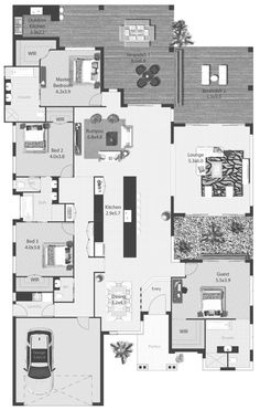 Here's a big 4 bedroom contemporary floor plan. I think it would serve a lot of purposes – a family with teens, Grandma living with you, or a great space for frequent guests… So, as you can see the guest room has its own bathroom and WIR. Bedroom 2 and 3 share a bathroom (which is not accessible for the rest of the house), but a WC is in place for visitors to use. It's a bit different with the kitchen and hallway behind, but I love the lounge room. That could possibly be sunken?? The dining…